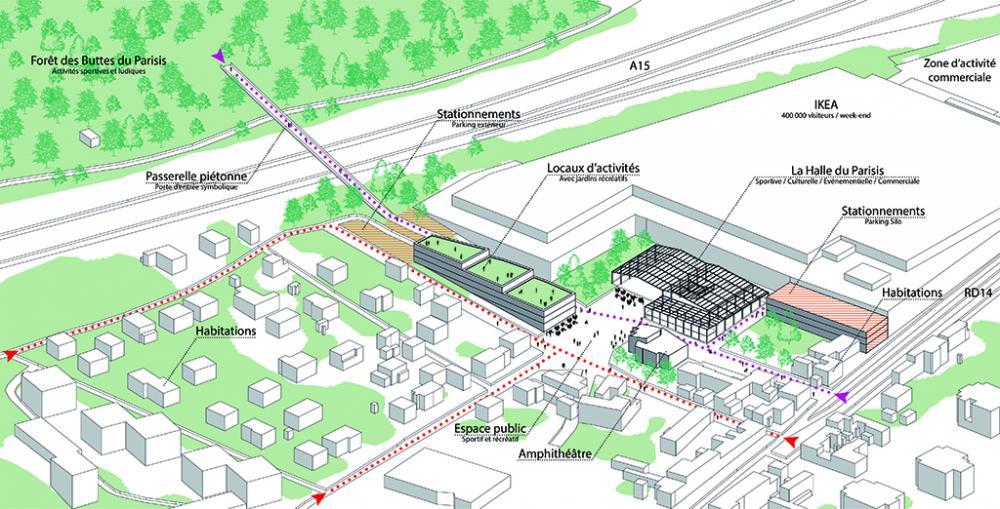 Axonométrie du projet urbain Le Corridor à Val Parisis, ex friche industrielle - Silhouette Urbaine
