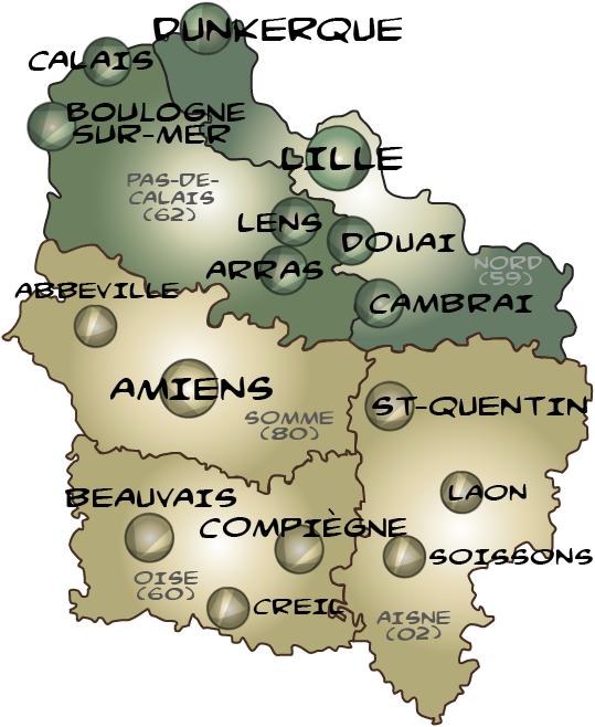 Map hauts de france