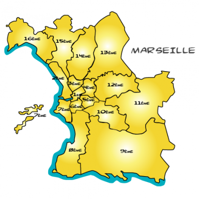 Map marseille illustration