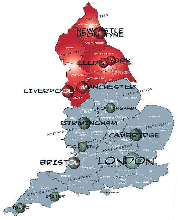Map north england