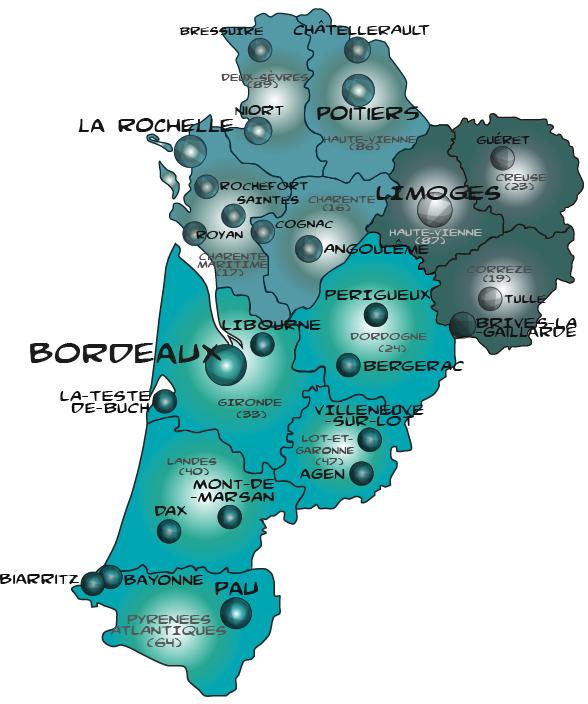 Map nouvelle aquitaine