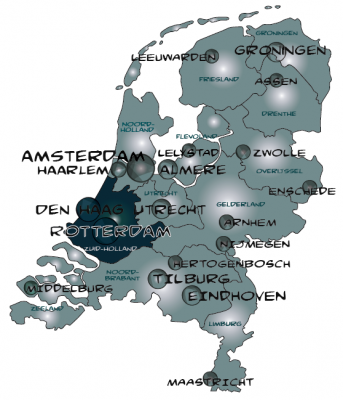 Map zuid holland in nederland