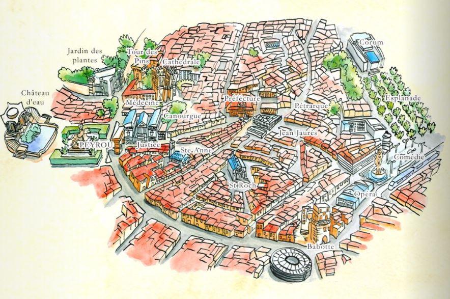 Montpellier dans les pas de Guilhem_plan de la ville pour les enfants