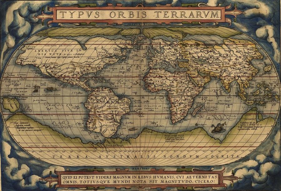Orteliusfirstworldmap1570 wikimedia commons