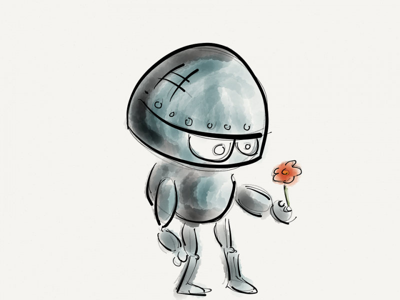 Aka Archi urba SI_Robot with a flower