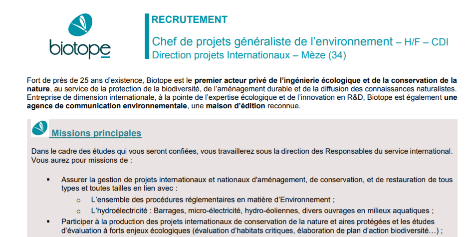 Biotope | Chef de projets (internationaux) à Mèze