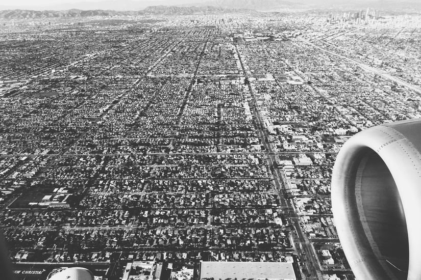 Black and white city flight large