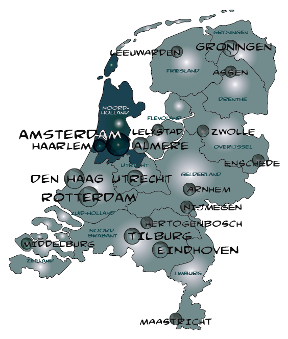 Map noord holland in nederland